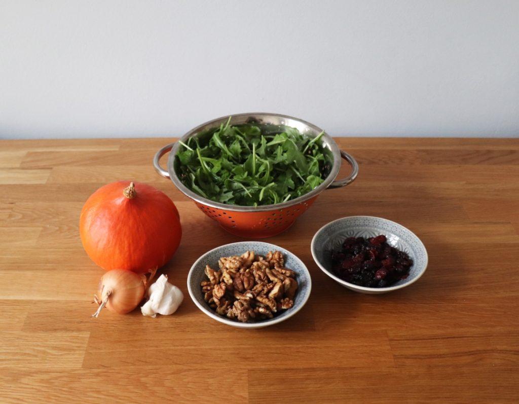 Kürbis, Rucola, Walnüsse, Cranberries, Dinkel