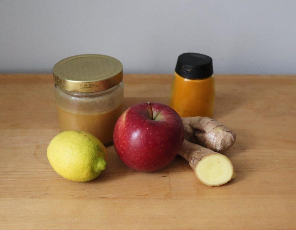 Ingwer, Zitrone, Apfel, Kurkuma, Honig